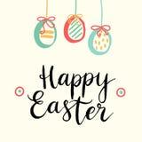 愉快的复活节卡片例证用复活节彩蛋和字体 图库摄影