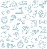 Предпосылка, фитнес, спорт, линия значки, белые Стоковое Фото