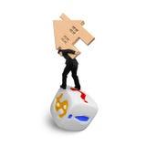 运载木房子的商人平衡在模子 免版税库存图片