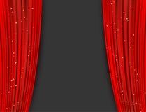 Οι κόκκινες κουρτίνες θεάτρων με ακτινοβολούν αφηρημένη ανασκόπηση Στοκ Φωτογραφία