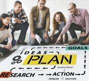 Έννοια ερευνητικής δράσης λύσης αποστολής ιδεών στρατηγικής σχεδίων Στοκ Φωτογραφίες