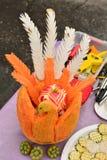 被雕刻的南瓜和苹果 库存图片