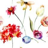 Безшовная картина с первоначально цветками Стоковые Фото