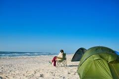 海滩黄雀色费埃特文图拉岛海岛西班牙帐篷 库存图片