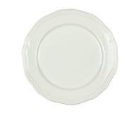 Άσπρο πιάτο πορσελάνης - που απομονώνεται Στοκ Εικόνες