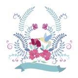 Πλαίσιο πουλιών και λουλουδιών Στοκ φωτογραφία με δικαίωμα ελεύθερης χρήσης