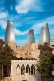 巴库市,阿塞拜疆全景  免版税库存照片