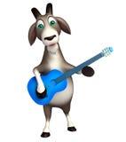 与吉他的逗人喜爱的山羊漫画人物 库存照片