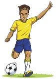 Λάκτισμα νεαρών άνδρων ποδοσφαιριστών ποδοσφαίρου στο διάνυσμα σκιαγραφιών Στοκ Φωτογραφία