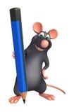 Персонаж из мультфильма крысы с карандашем Стоковые Изображения