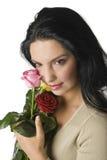 женщина Валентайн роз Стоковые Изображения RF