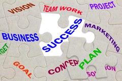 企业成功在七巧板的概念文本编结 免版税库存图片
