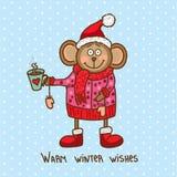 逗人喜爱的圣诞节猴子 免版税库存图片