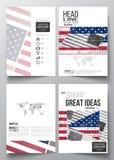 套小册子、杂志、飞行物、小册子或者年终报告的企业模板 与摘要的阵亡将士纪念日背景 免版税库存图片