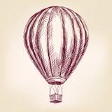 Μπαλόνι ζεστού αέρα, αεροσκάφος ή συρμένο διανυσματικό σκίτσο απεικόνισης μεταφορών χέρι Στοκ Εικόνα