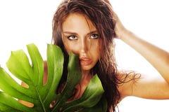 有在亚洲面孔的白色关闭隔绝的绿色叶子的年轻深色的端庄的妇女 库存图片