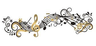 Музыкальная предпосылка с деревом Стоковое Изображение