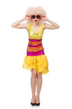 在白色隔绝的滑稽的闪耀的黄色礼服的妇女 库存照片