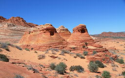 美国,亚利桑那/北部土狼的小山:对波浪的足迹-异常的小山 免版税图库摄影