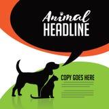 Ζωική αφίσα σκυλιών και γατών Στοκ φωτογραφία με δικαίωμα ελεύθερης χρήσης
