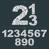 套传染媒介华丽数字,花被仿造的计算 投反对票 免版税图库摄影