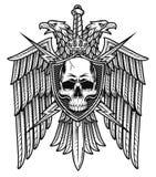 老鹰冠头骨盾徽章 库存图片