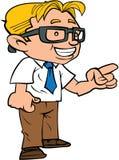 戴眼镜的愉快的动画片书呆子 库存图片