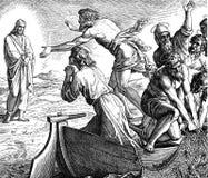 耶稣出现在加利利海 库存图片