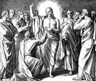 耶稣出现给托马斯 库存照片