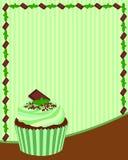 巧克力薄荷的杯形蛋糕背景 免版税库存图片