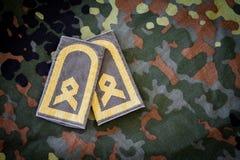 Γερμανικά κύρια διακριτικά κατώτερων υπαλλήλων στο γερμανικό στρατιωτικό σακάκι Στοκ εικόνα με δικαίωμα ελεύθερης χρήσης
