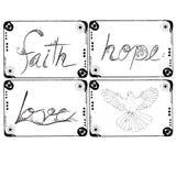Το σχέδιο απεικόνισης αγάπης και περιστεριών ελπίδας πίστης που τίθεται για διακοσμεί Στοκ Φωτογραφία