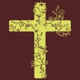 在黄色颜色设计的十字架在与植物群线艺术的黑暗的紫色背景为装饰作为基督教 库存照片