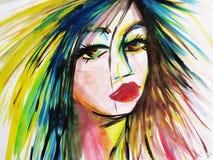 Абстрактная акварель красивой стороны женщины Стоковое фото RF