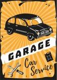 停车库 与一辆减速火箭的汽车的葡萄酒海报 免版税图库摄影