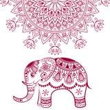 Абстрактный индийский слон с мандалой Стоковые Изображения RF
