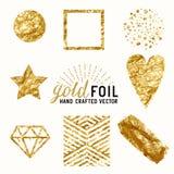 Διανυσματικό χρυσό σύνολο επίδρασης φύλλων αλουμινίου Στοκ εικόνα με δικαίωμα ελεύθερης χρήσης