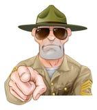 恼怒的指向的操练军官 库存照片