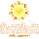 逗人喜爱的动画片太阳和乱画都市风景 库存图片