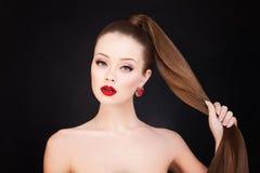 женщина волос здоровая длинняя Стоковое Изображение RF