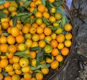 柑橘水果在街道上的待售在会安市,越南 免版税库存图片