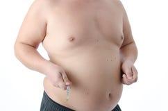 情节 肥胖人 赤裸和穿戴 免版税库存照片