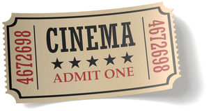 Αναδρομικό εισιτήριο κινηματογράφων με τη σκιά Στοκ φωτογραφίες με δικαίωμα ελεύθερης χρήσης