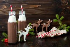 与打好的奶油的热巧克力在有红色镶边秸杆的古板的减速火箭的瓶 圣诞节假日饮料和姜饼 免版税库存图片