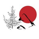 Το χέρι σύρει το απλό δέντρο, το βουνό και τον ήλιο σκίτσων Στοκ φωτογραφία με δικαίωμα ελεύθερης χρήσης