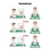 回教祷告位置指南由坐和举食指的男孩逐步执行与错误位置 免版税库存图片