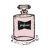 一个瓶女孩的,妇女香水 时尚和秀丽,趋向,芳香 免版税库存图片