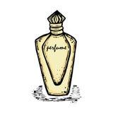一个瓶女孩的,妇女香水 时尚和秀丽,趋向,芳香 免版税库存照片