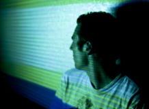 蓝绿色轻的条纹 库存照片