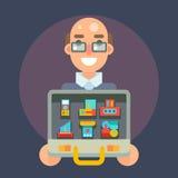 Πεπειραμένη επαγγελματική πωλητών περίπτωσης αγαθών προσφοράς πώλησης διανυσματική απεικόνιση χαρακτήρα σχεδίου εικονιδίων επίπεδ Στοκ φωτογραφία με δικαίωμα ελεύθερης χρήσης